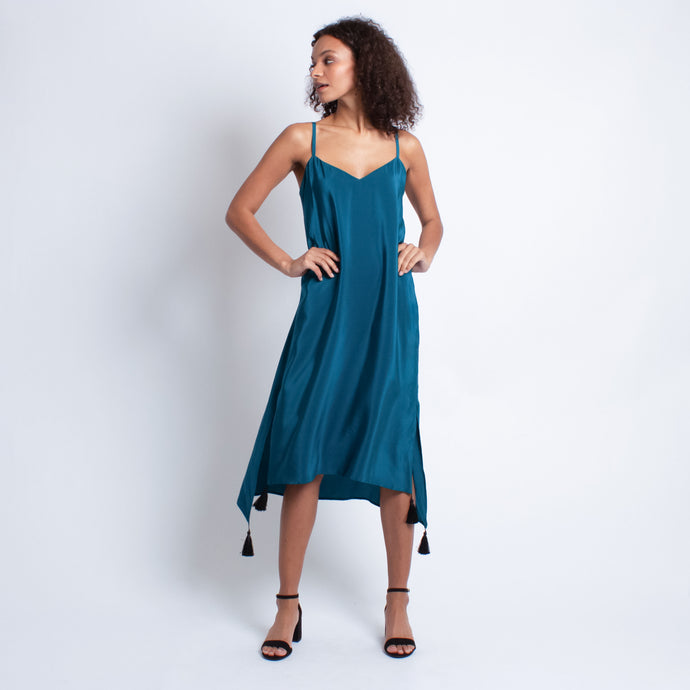 Isabella Silk Dress | Turquoise