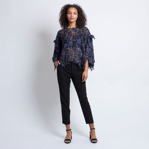 Audrey Top in Navy Floral Lace