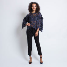 Load image into Gallery viewer, Audrey Top in Navy Floral Lace