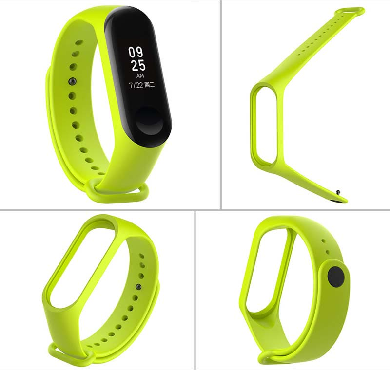 Replacement Strap with buckle for Xiaomi Mi Band 3 Smart Band Fitness Tracker Watch - Lime Green