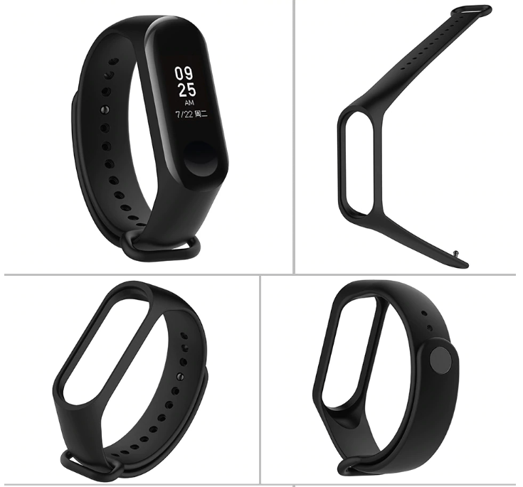 Replacement Strap with buckle for Xiaomi Mi Band 3 Smart Band Fitness Tracker Watch - Black