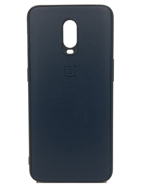 Oneplus 6T Leather Hard Back Soft Side Protective Case Dark Blue