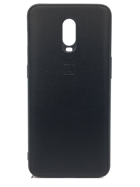 Oneplus 6T Leather Hard Back Soft Side Protective Case Black