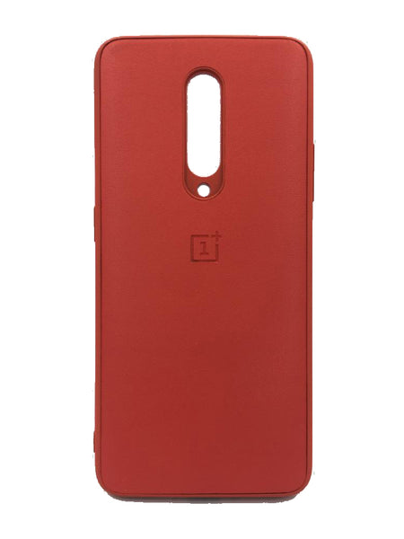 Oneplus 7 Pro PU Leather Back Cover Case With Silicone Bumper Red