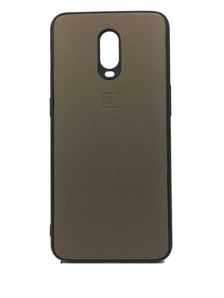 Oneplus 6T Leather Hard Back Soft Side Protective Case BEIGE