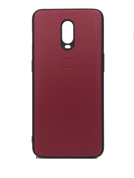 Oneplus 6T Leather Hard Back Soft Side Protective Case Maroon