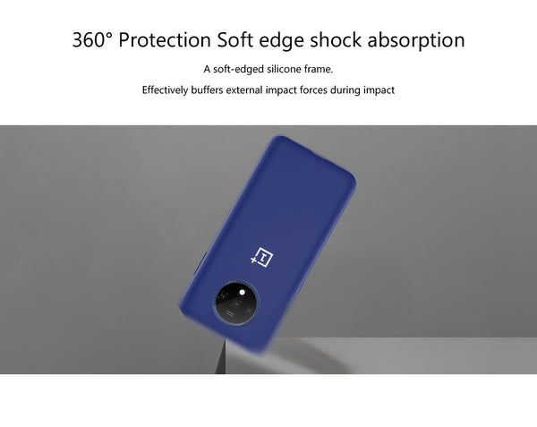 TDG Oneplus 7T Silicone Back Cover Protective Case Dark Blue
