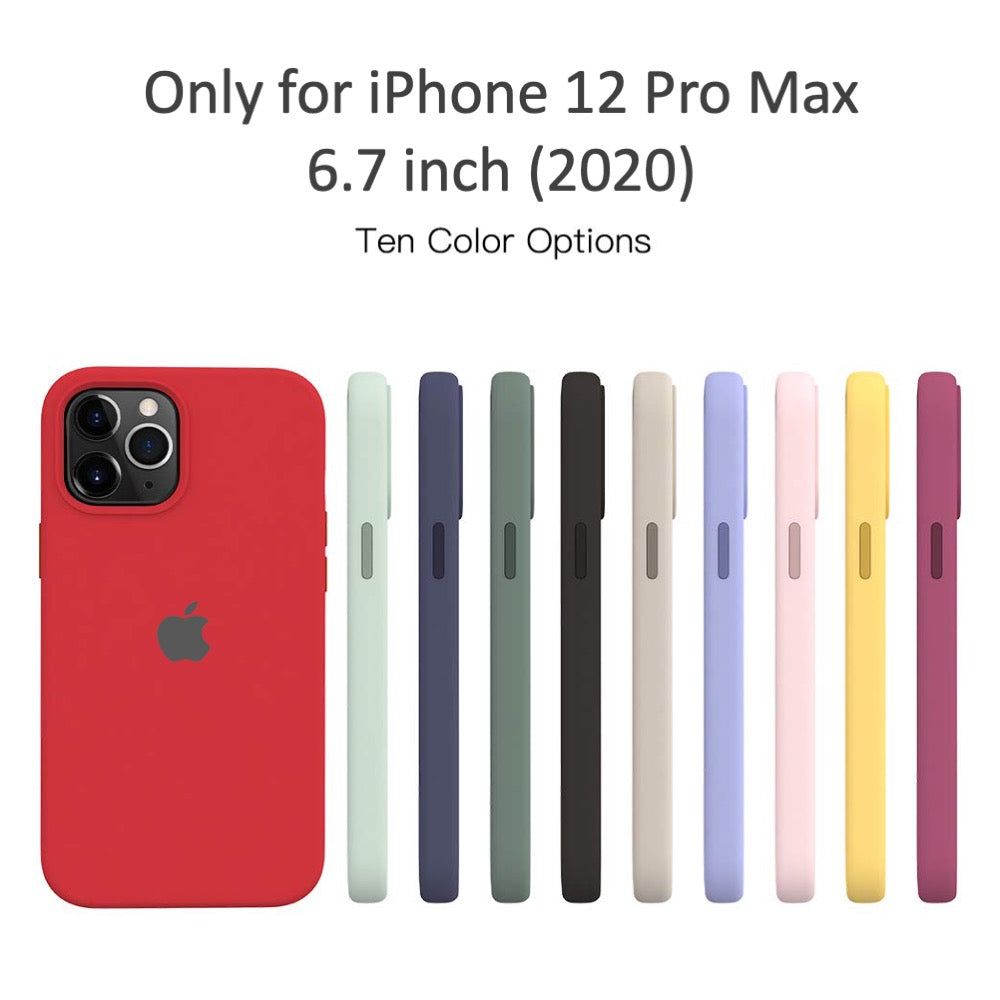 Apple iphone 12 pro max og silicone cases rubberised back with microfiber lining