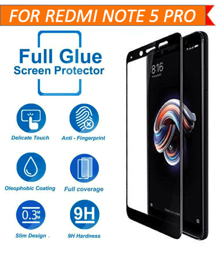 TDG 11D Edge to Edge Tempered Glass for Mi Redmi Note 5 Pro Black - YourDeal India