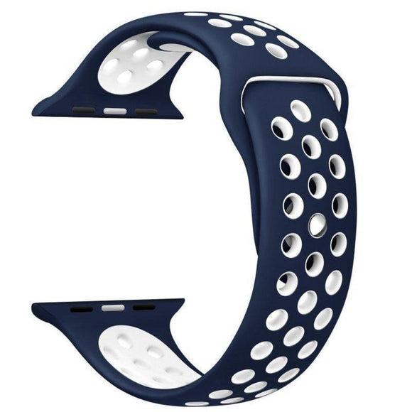 TDG Sports Silicone Watch Strap 42mm for Apple Watch 1 2 3 Dark Blue White - YourDeal India