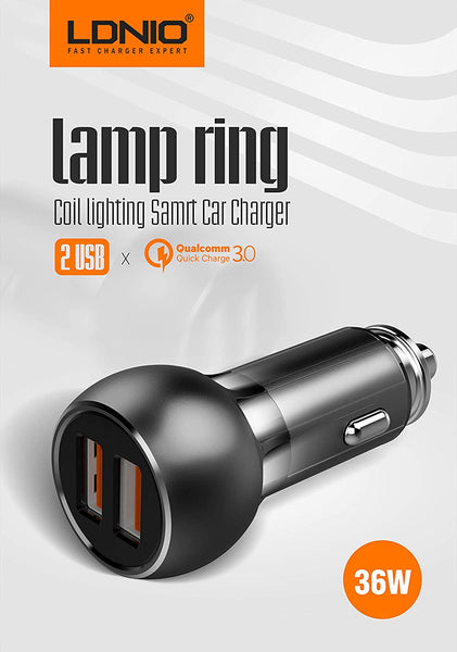 LDNIO C503Q Dual USB Qualcomm 3.0 Quick Smart Car Charger Premium Lamp Ring Coil 8 Pin Metal Design with Cable