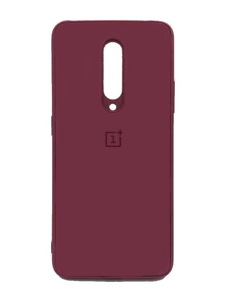 Oneplus 7 Pro PU Leather Back Cover Case With Silicone Bumper Maroon