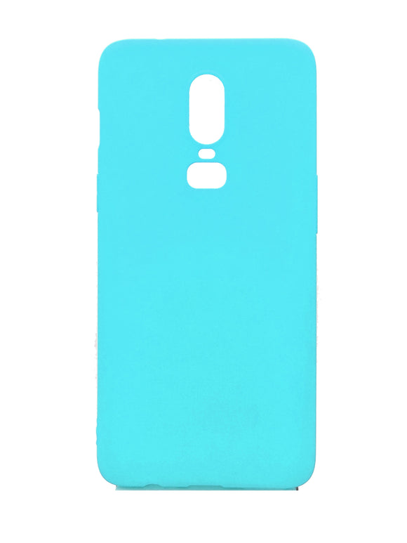 OnePlus 6 Silicone Protective Back Case Cyan Blue - YourDeal India