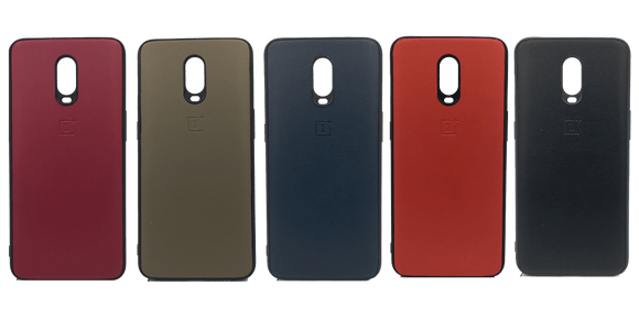 Oneplus 6T Leather Hard Back Hard Back soft silicone sides back cover case - YourDeal India