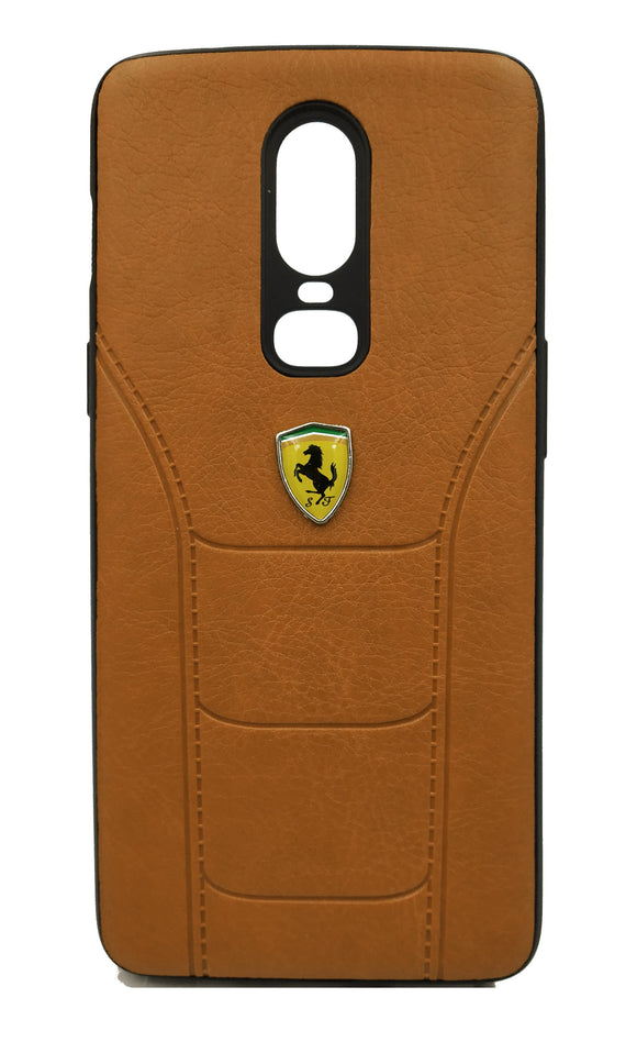 Oneplus 6 Leather Back Soft Silicone Ferrari Back Case Cover Brown - YourDeal India