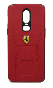 Oneplus 6 Leather Back Soft Silicone Ferrari Back Case Cover Red - YourDeal India