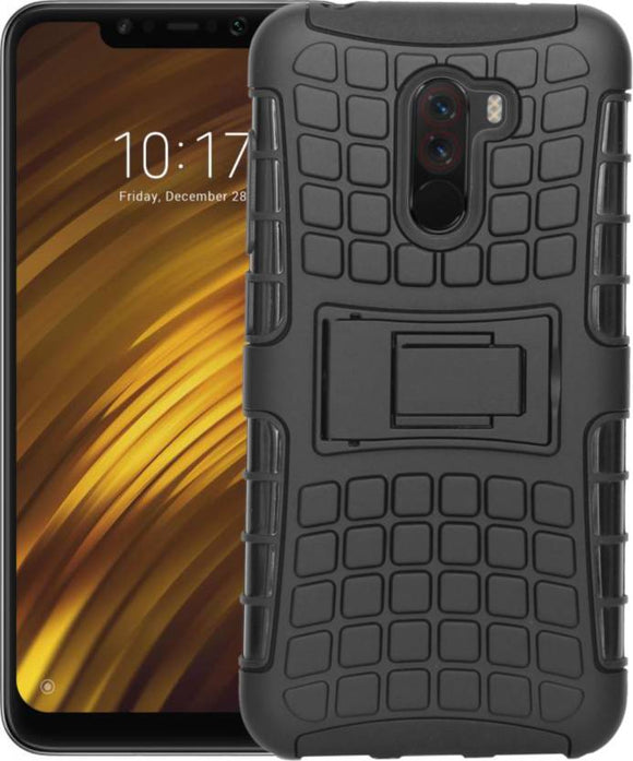 TDG POCO F1 Rugged Defender Dual Layer Back Cover Case Black - YourDeal India