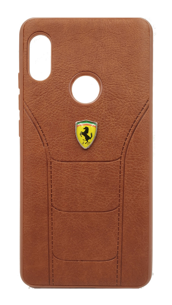 Redmi Note 5 Pro Leather Back Soft Silicone Ferrari Back Case Cover Brown - YourDeal India