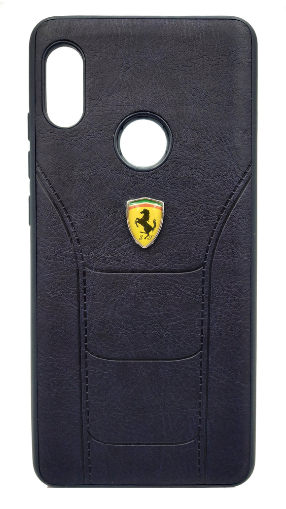 Redmi Note 5 Pro Leather Back Soft Silicone Ferrari Back Case Cover Black - YourDeal India
