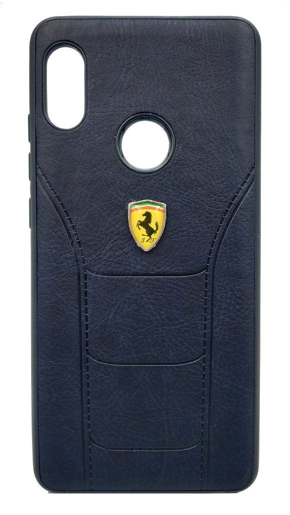 Redmi Note 5 Pro Leather Back Soft Silicone Ferrari Back Case Cover Dark Blue | YourDeal India