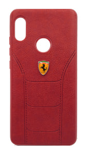 Redmi Note 5 Pro Leather Back Soft Silicone Ferrari Back Case Cover Red - YourDeal India