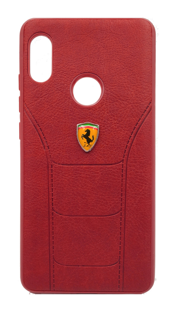 Redmi Note 5 Pro Leather Back Soft Silicone Ferrari Back Case Cover Red | YourDeal India