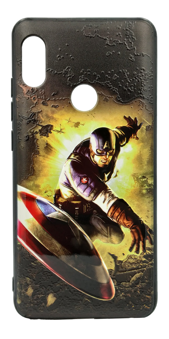 TDG Xiaomi Redmi Note 5 Pro 3D Texture Printed Captain America Hard Back Case Cover - YourDeal India