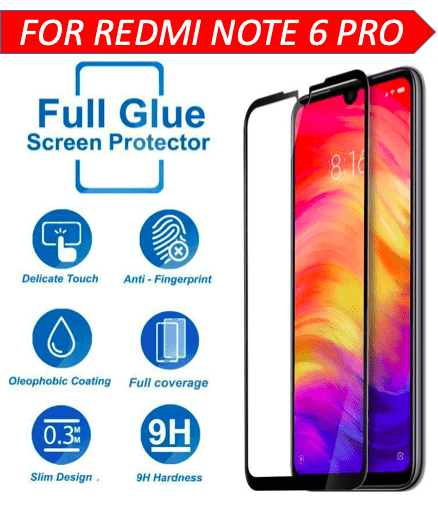TDG 11D Edge to Edge Tempered Glass for Mi Redmi Note 6 Pro Black - YourDeal India