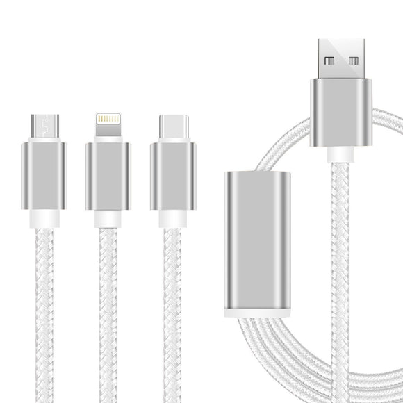 YourDeal 3 in 1 Nylon Braided USB Charging Cable for Android Apple & Type C Smartphones - YourDeal India