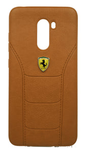 Poco F1 Leather Back Soft Silicone Ferrari Back Case Cover Brown - YourDeal India