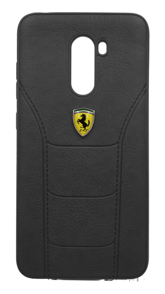 Poco F1 Leather Back Soft Silicone Ferrari Back Case Cover Black  Poco F1 Leather Cases - YourDeal India