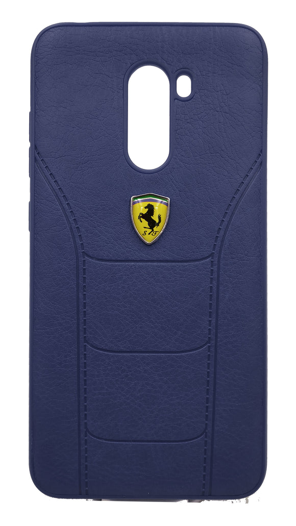 Poco F1 Leather Back Soft Silicone Ferrari Back Case Cover Dark Blue - YourDeal India