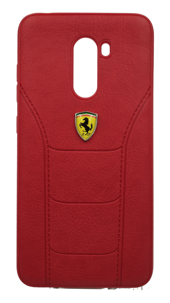 Poco F1 Leather Back Soft Silicone Ferrari Back Case Cover Red - YourDeal India