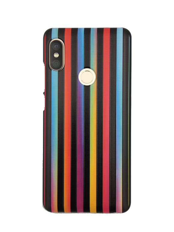 Rainbow Multicolour Vertical Stripes on Black Mobile Back cover Case for Xiaomi Redmi Note 5 Pro | YourDeal India
