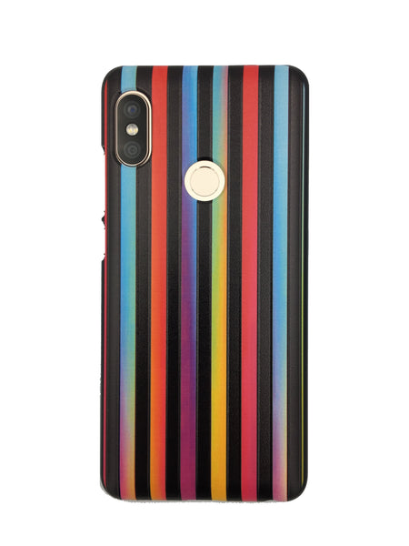 Rainbow Multicolour Vertical Stripes on Black Mobile Back cover Case for Xiaomi Redmi Note 5 Pro
