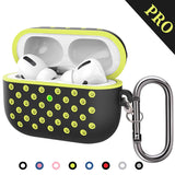 TDG Airpods Pro Silicone Case Cover Soft Dual-Layer Nike with Anti-Lost Carabiner Black / Yellow - YourDeal India