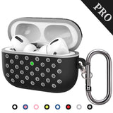 TDG Soft Silicone Dual-Layer Airpods Pro Case Cover with Carabiner Black / Grey - YourDeal India