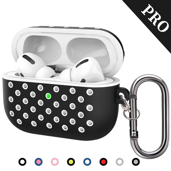 TDG Airpods Pro Silicone Case Cover Soft Dual-Layer Nike with Anti-Lost Carabiner Black / White