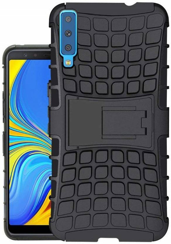TDG Samsung A7 2018 Hybrid Defender Case Dual Layer Rugged Back Cover Black - YourDeal India