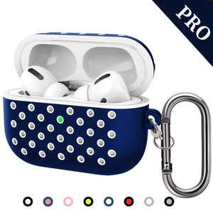TDG Soft Silicone Dual-Layer Airpods Pro Case Cover with Carabiner Dark Blue White - YourDeal India