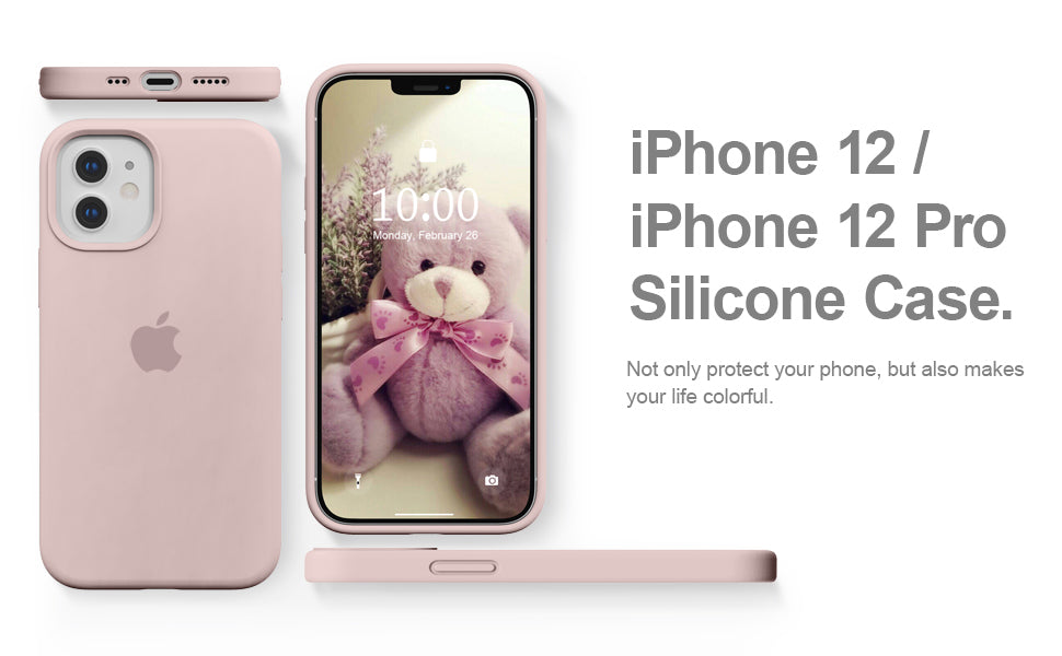 Apple iPhone 12 / 12 Pro OG Silicone Case Cover Full protection Pink Sand - YourDeal India