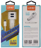 LDNIO DL-C29 3.4A Dual USB Car Charger For IPhone, IPAD, SAMSUNG, HTC, LG, XIAOMI (White) - YourDeal India