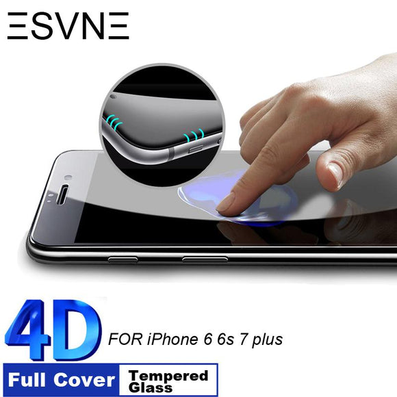ESVNE 9H Hardness 4D Curved Edge Full Cover Tempered Glass for iphone 6 glass iPhone 7 Glass 6s 7 plus Screen Protector film - YourDeal India