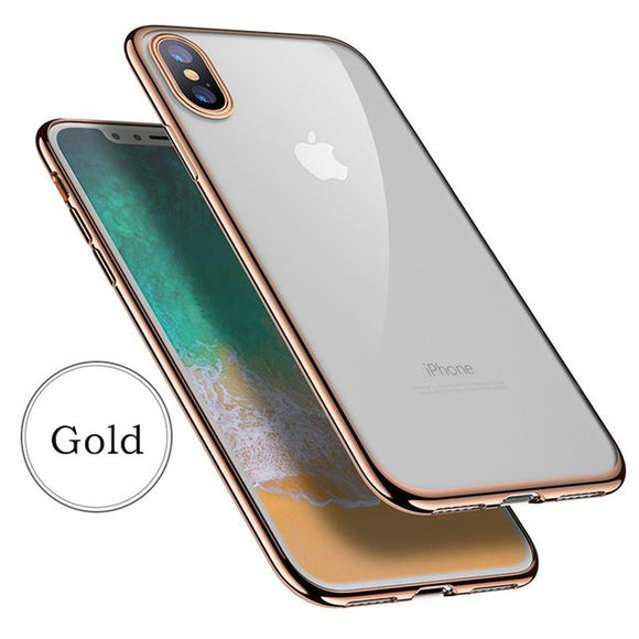 Luxury Soft TPU Transparent Full Protection Back cover case for iPhone 6 6S Plus 7 8 8 Plus X Gold / For iPhone X Back Cover - YourDeal India