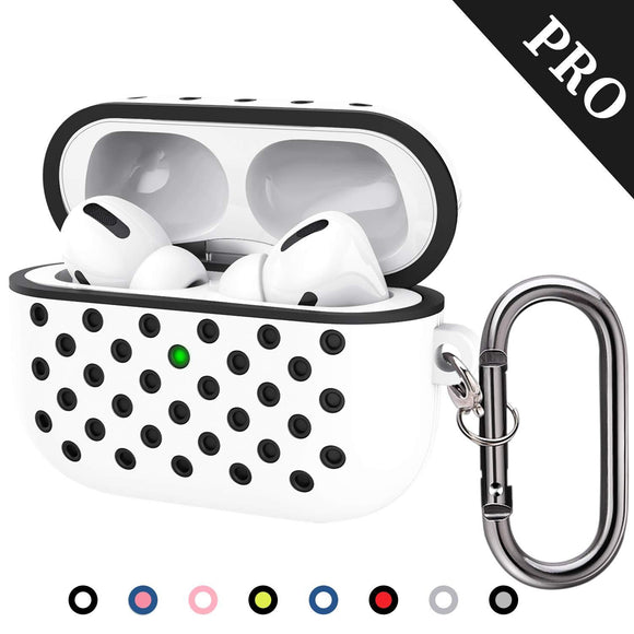 TDG Soft Silicone Dual-Layer Airpods Pro Case Cover with Carabiner White Black - YourDeal India