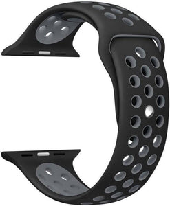 TDG Sports Silicone Watch Strap 42mm for Apple Watch 1 2 3 Black Grey | YourDeal India