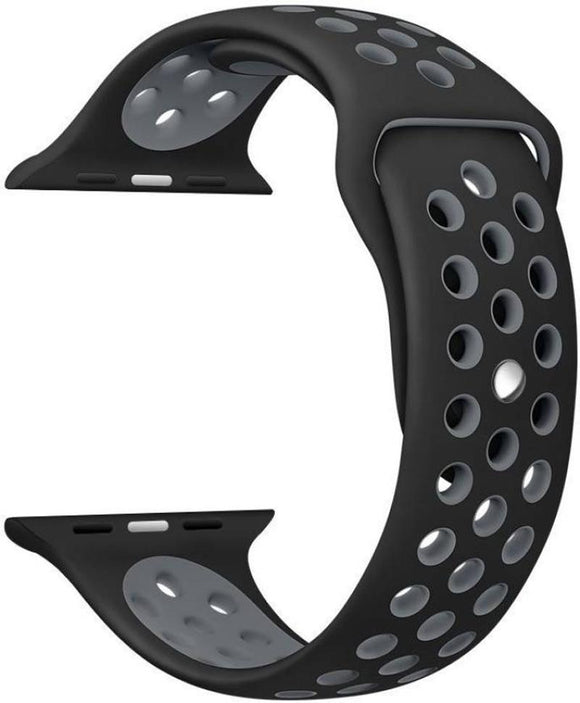 TDG Sports Silicone Watch Strap 42mm for Apple Watch 1 2 3 Black Grey - YourDeal India