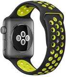 TDG Replacement Sports Silicone Watch Strap 42mm for Apple Watch 1 2 3 Black Yellow - YourDeal India