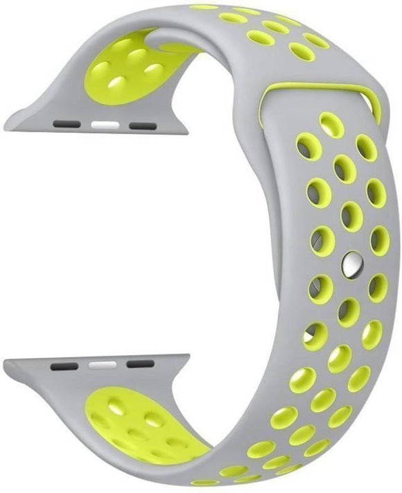 TDG Sports Silicone Watch Strap 42mm for Apple Watch 1 2 3 Grey Yellow - YourDeal India