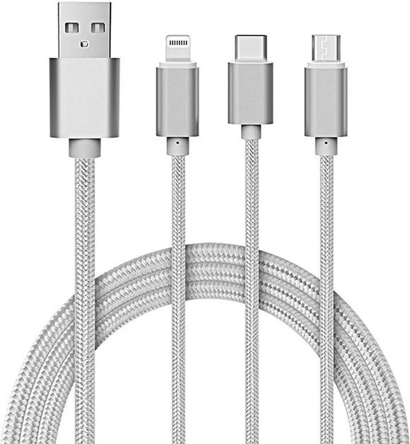 TDG 3 in 1 Nylon Braided Charging Cable for Android Apple & Type C Smartphones Silver - YourDeal India